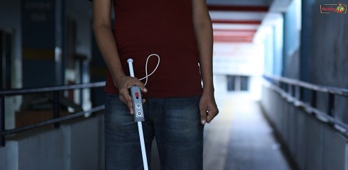 Image of Saarthi on a white cane