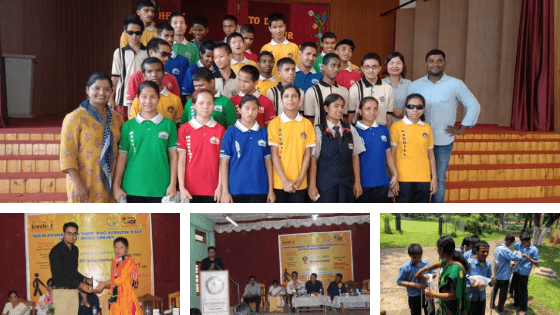 Collage - Group picture of visually impaired children standing in colourful clothes and torchit team plus event guests sitting on stage at Saarth distribution event venues in North east india