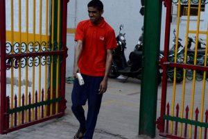 Blind man walking with Saarthi