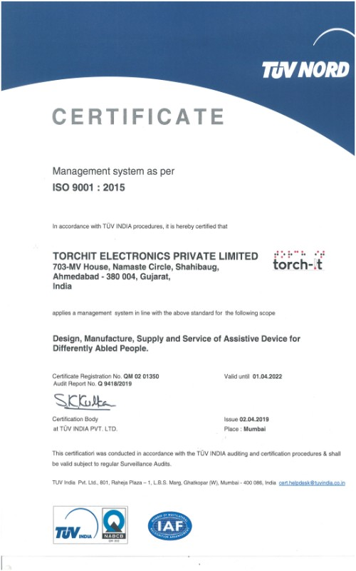 Getting a Certificate of TUV NORD to Torchit electronics private limited